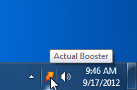 Screenshot of Actual Booster's icon in the system tray area